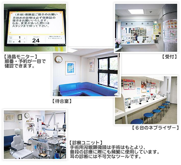 液晶モニター,待合室,受付,6台のネプライザー,診察ユニット